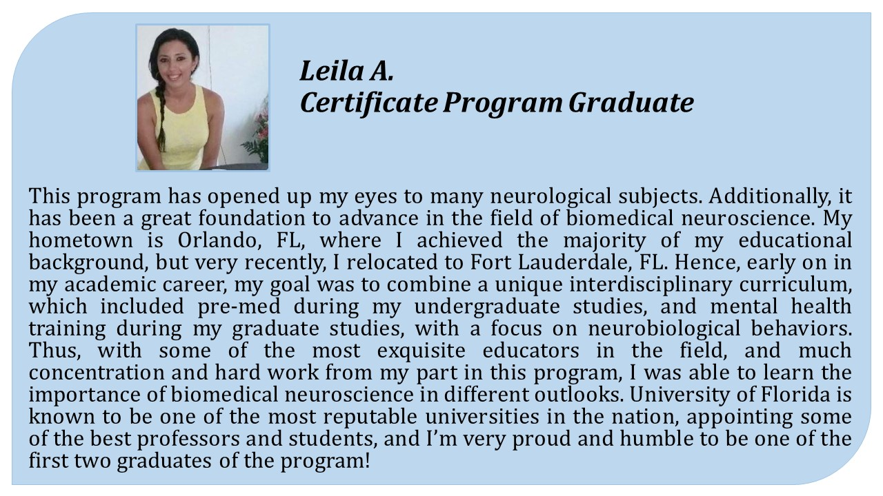 Biomedical neuroscience certificate program department of comments from current and former certificate program students xflitez Choice Image