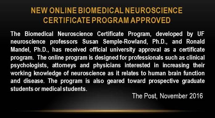Drs. Sue Semple-Rowland & Ron Mandel develop Neuroscience Certificate Program